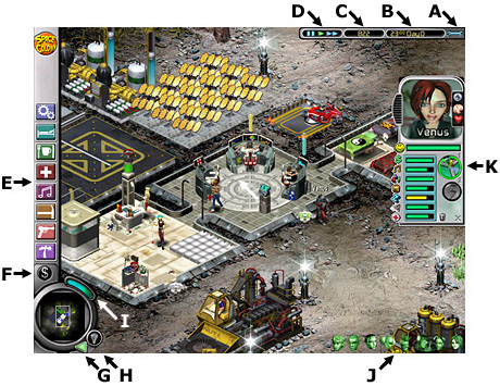screenshot - Space Colony interface